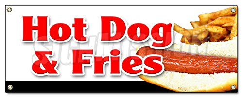 HOT Dog & Fries Combo Banner Sign All Beef French Franks Meal Deal