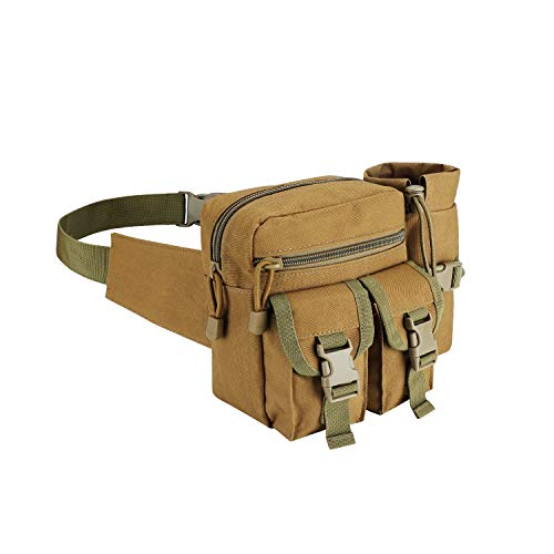 Lemon Park Tactical Waist Bag Military Fanny Pack,Waterproof Utility Belt with Water Bottle Holder,Suitable for Hiking&Mountaineering&Camping&Riding&Fishing&Shooting(Khaki)
