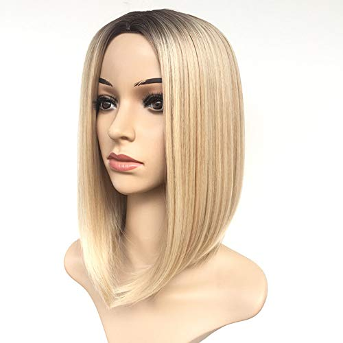 Women's Short Blonde Wig 14' Blonde Color Bob Wig Ombre Synthetic Full Hair Wig Heat Resistant Straight Short Blonde Wig for Black/White Women