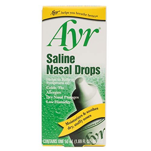 Ayr Saline Nasal Drops, 1.69-Ounce Bottles (Pack of 6)