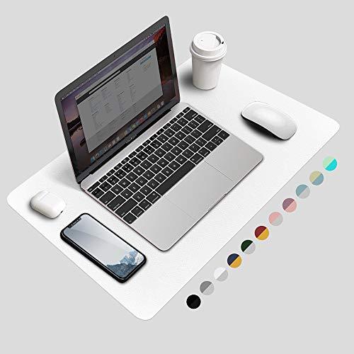 Desk Pad Protector, Waterproof PU Leather Office Desk Mat Desk Writing Mat Laptop Large Mouse Pad Desk Blotters Desk Décor for Office Home, 23.6' x 13.8', White