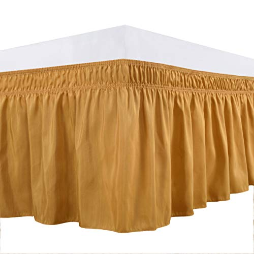 Biscaynebay Wrap Around Bed Skirts Elastic Dust Ruffles, Easy Fit Wrinkle and Fade Resistant Silky Luxrious Fabric Solid Color, Gold for Full, Full XL, Twin and Twin XL Size Beds 15 Inches Drop