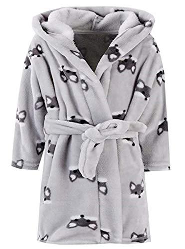 Ameyda Kids Baby Boys Girls Cute Fox Cartoon Plush Robe Fleece Hooded Bathrobe, Gray,110