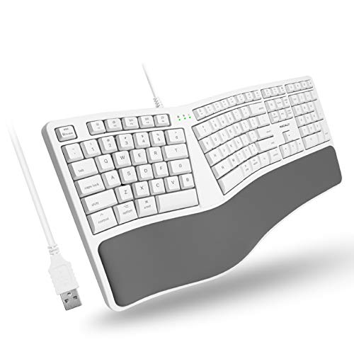 Macally Mac Wired Keyboard with Wrist Rest - Natural and Comfortable Typing - Split Ergonomic Keyboard for Mac with 110 Keys, 21 OSX Shortcuts, and 5ft USB Cable - USB Apple Keyboard Ergonomic Design