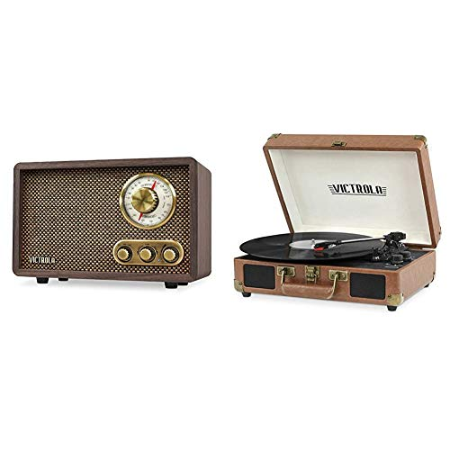 Victrola Retro Wood Bluetooth FM/AM Radio with Rotary Dial, Espresso & Vintage 3-Speed Bluetooth Portable Suitcase Record Player with Built-in Speakers   Upgraded Turntable Audio Sound