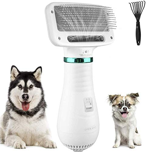 STARTOGOO Pet Hair Dryer 2 in 1 Pet Grooming Hair Comb Dryer Blower with Slicker Brush for Small Larger Anaimals Dogs&Cats Two Low& High Temperatures for Short Haired and Medium Coated Breeds