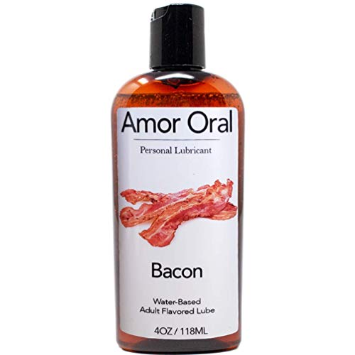 Amor Oral Bacon Flavored Lube, Edible and Body Safe, Water-Based Personal Lubricant 4 Ounce Bacon