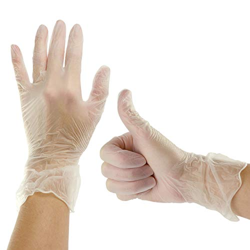Plasticpro Disposable Vinyl Gloves Powder Free Plastic, Clear,Allergy Free, Latex Free, Small 200 Pack