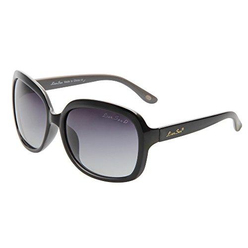 LianSan Oversized Womens Sunglasses Polarized uv Protection Simple Sunglasses LSP301, Black Frame Gradient Black Lenses, Medium