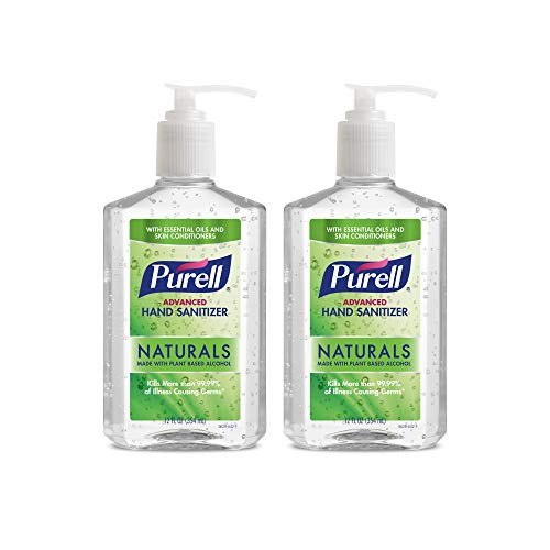PURELL Advanced Hand Sanitizer Naturals with Plant Based Alcohol, Citrus scent, 12 fl oz Pump Bottle (Pack of 2) - 9629-06-EC