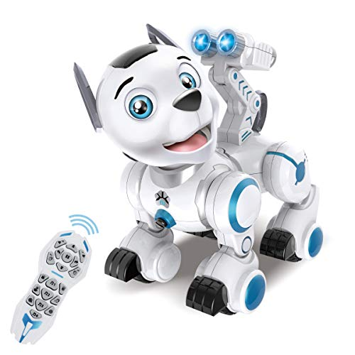 fisca Remote Control Robotic Dog RC Interactive Intelligent Walking Dancing Programmable Robot Puppy Toys Electronic Pets with Light and Sound for Kids Boys Girls Age 6, 7, 8, 9, 10 and Up Year Old