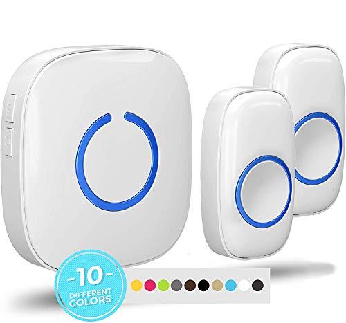 SadoTech White Wireless Doorbell Kit: Model CX Wireless Doorbells for Home with 2 Push Button Transmitters and 1 Receiver - Waterproof, Long Range Wireless Door Bell - Battery Operated Door Bells