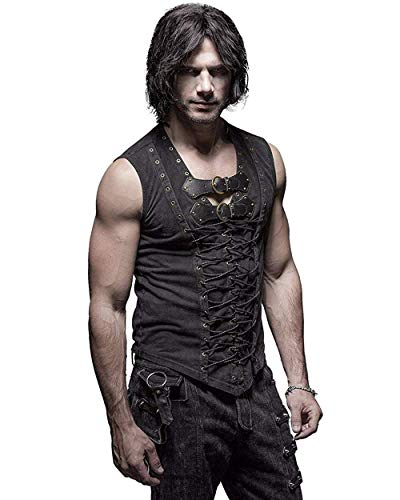 Punk Rave Man Cotton Leather Belt Sleeveless T-Shirt Front Strap Vest Bandage Casual Tank Tops Steampunk Vest