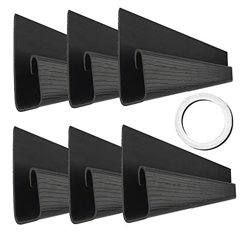 J Channel Cable Raceway, 70.8' Computer Desk Cable Organizer, 6 Under Desk Cable Management Tray with Mounting Tape, Wood Grain Cable Trays for Office, Home, Kitchen (11.8in Each, Small, Black)