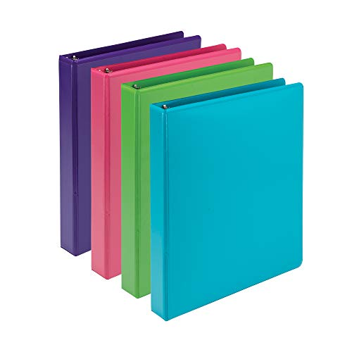 Samsill Earth's Choice Biobased Durable 3 Ring Binders, Fashion Clear View 1 Inch Binders, Up to 25% Plant Based Plastic, Assorted 4 Pack, Model:MP48639