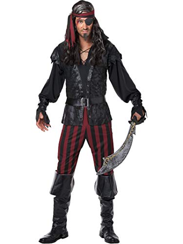 California Costumes Men's Ruthless Rogue Pirate Buccaneer Swashbuckler, Black/Red, Large