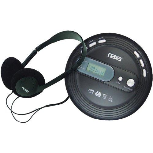 Naxa Electronics NPC-330 Slim Portable Cd and MP3 Player with FM Radio & Anti-Shock Technology, Black