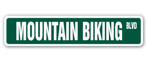 Mountain Biking Street Sign Biker Bike Bicycle Rider Cycling | Indoor/Outdoor | 18' Wide