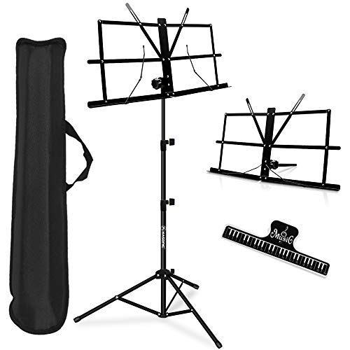 Music Stand, Kasonic 2 in 1 Dual-Use Folding Sheet Music Stand & Desktop Book Stand, Portable and Lightweight with Music Sheet Clip Holder & Carrying Bag Suitable for Instrumental Performance