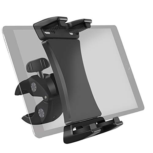Bike Tablet Mount Holder Handlebar Clamp Stand for Gym Treadmill Spinning Bike Elliptical, Compatible with iPad Pro 12.9 11 10.5 iPad Air Mini Surface Galaxy Tab and 3.5 to 13.5in Phone Tablets
