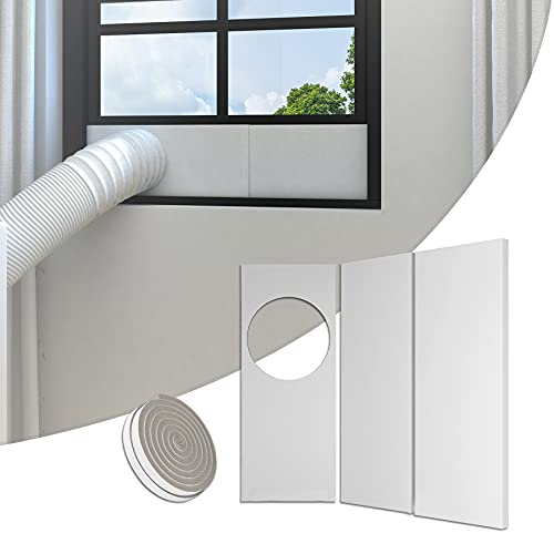 BJADE'S Portable Air Conditioner Seal Plates Kit,AC Window Kit for Sliding Glass Doors& Windows,Adjustable Length Panels for 5.9in Exhaust Hose with Insulating Sealing Tape