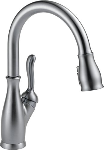 Delta Faucet Leland Pull Down Kitchen Faucet with Pull Down Sprayer, Kitchen Sink Faucet, Faucets for Kitchen Sinks, Single-Handle, Magnetic Docking Spray Head, Arctic Stainless 9178-AR-DST