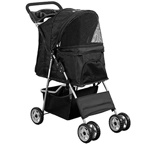 VIVO Black 4 Wheel Pet Stroller for Cat, Dog and More, Foldable Carrier Strolling Cart, STROLR-V001K