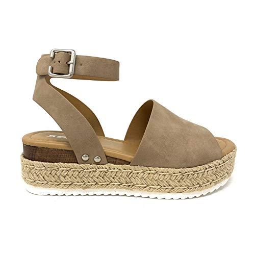 SODA Topic Topshoe Avenue Women's Open Toe Ankle Strap Espadrille Sandal (8.5 M US, DK-NAT)