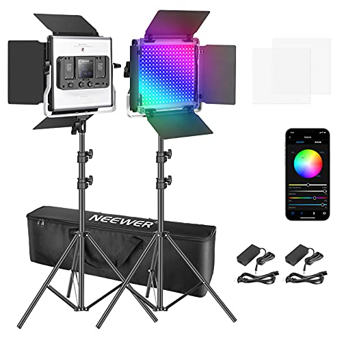 Neewer 2 Packs 530 RGB Led Light with APP Control, Photography Video Lighting Kit with Stands and Bag, 528 SMD LEDs CRI95/3200K- 5600K/Brightness 0-100%/0-360 Adjustable Colors/9 Applicable Scenes