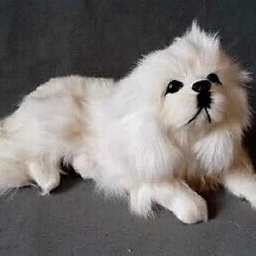 N/D Stuffed Toy About 25x8x12cm Simulation White Pekingese Dog Model Toy Lifelike Prone Dog Model Decoration Gift