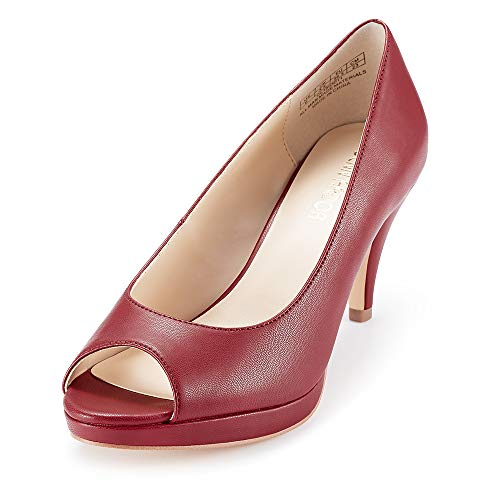 JENN ARDOR Women's Ladies Classic Mid Heel Round Peep Toe Pumps Dress Party Slip On Sandals Platform Comfort Heels (7, PU Red)