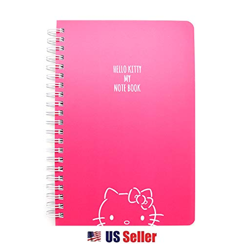 Sanrio Hello Kitty Spiral B6 PP Cover Lined Notebook Note Pad (Hot Pink)