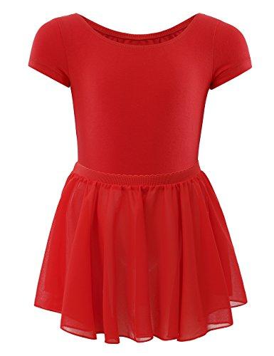 WEGETIT Gymnastics Leotards for Girls Toddler Ballet Dance Tutu Skirts (6-8 Years, Red)