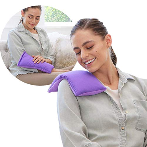 My Heating Pad Microwavable for Cramps and Lower Back Pain | Perfect Moist Heat Therapy Pack for Menstrual, Neck and Shoulder, Knee Relief | Reusable and Natural | Hot/Cold Compress (Purple)