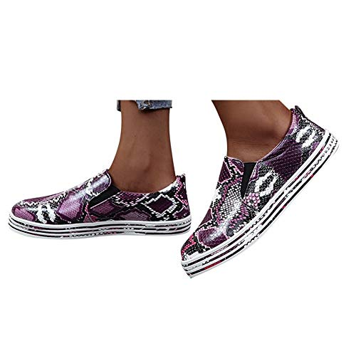 Hemlock Women Classic Canvas Sneakers Snake Print Espadrille Slip On Flats Round Toe Loafers Large Casual Walk Shoes Sneakers Purple