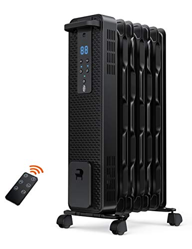 TaoTronics Space Heater, 1500W Oil Filled Radiator Heaters with 3 Heating Mode, 24-Hrs Timer for Auto-On & Off, Remote Control, Tip-over Protection Electric Portable Heater for Indoor Use Home Office