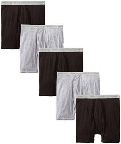 Hanes Men's Tagless Boxer with ComfortFlex Waistband Brief, Black/Gray-5, Medium