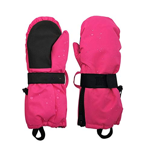 HIGHCAMP Boys Girls Thumbs Up Mittens Wide Zippered Stay on Waterproof Gloves- Rosa XS (1-3 Y)