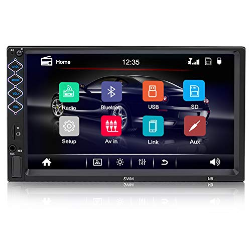 7 inch Car StereoUniversal Car Radio with Bluetooth Double Din Touch Screen in-Dash Car FM Radio Receiver MP5 Player, Support Rear View Camera, Steering Wheel Controls and Mirror Link