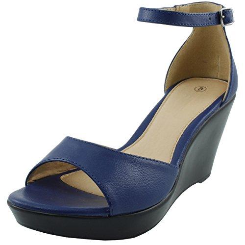 Cambridge Select Women's Open Toe Ankle Strappy Platform Wedge Sandal (8.5 B(M) US, Royal Blue)
