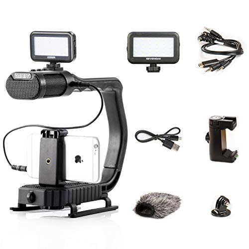 Handheld Stabilizer & Video Led Lights for DJI OSMO Camera iPhone, Sevenoak Handle Grip & Built-in Stereo Mic for Smartphone GoPro Sony Alpha Cannon Nikon DSLR Camera
