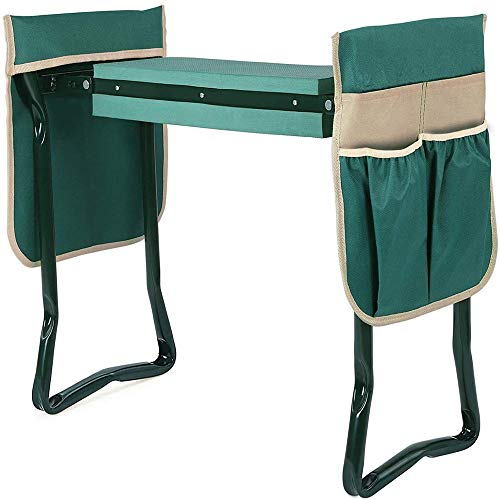 Garden Kneeler Seat with Upgraded Thicken Kneeling Pad and 2 Large Tool Pouch, Foldable Stool 330lb Capacity