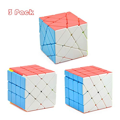 RainbowBox Speed Cube Set, Windmill Cube Fisher Cube Axis Cube 4×4×4 Stickerless Magic Cube Bundle Brain Teasers Puzzle Toys Colorful