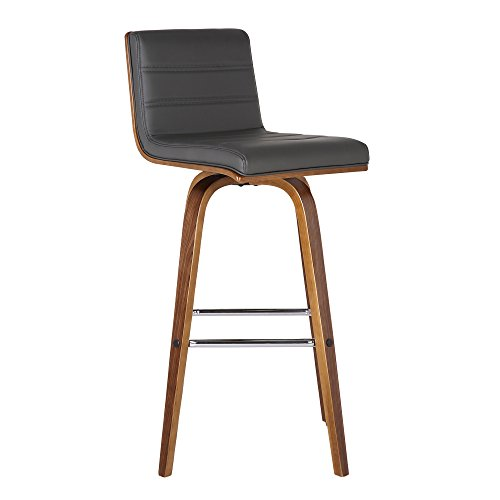 Armen Living Vienna Mid-Century Modern 30' Bar height Barstool Faux Leather Wood Finish, Grey/Walnut