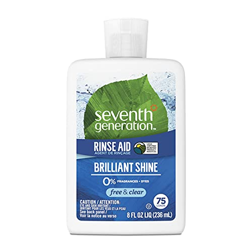 Seventh Generation Dishwasher Rinse Aid for sparkling dishes Free & Clear Fragrance Free 8 oz (Pack of 9)