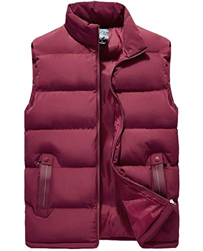 Vcansion Men's Outdoor Casual Classic Quilted Vest Heavy Weight Puffer Vest Wine Red US 2XL/Asian 7XL