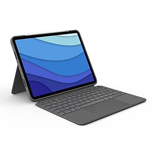 Logitech Combo Touch iPad Pro 11' (1st, 2nd, and 3rd Generation) Keyboard Case - Detachable Backlit Keyboard with Kickstand, Click-Anywhere Trackpad, Smart Connector - Oxford Gray