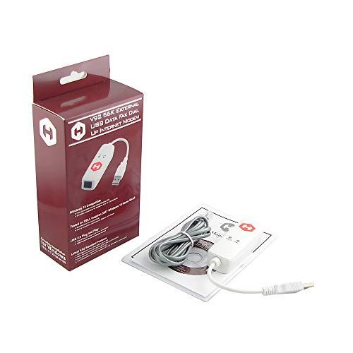 HiRO H50353 V92 56K External USB Data Fax Dial Up Internet Modem Single Port Truly Plug n Play Driverless Installation Built in Driver Windows 10 8.1 8 7 Compatible