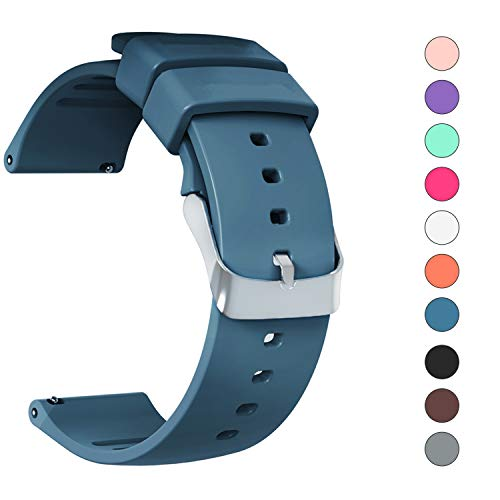 JIELIELE 20mm 22mm Watch Band for Men Women, Silicon Sports Release Replacement Smart Watch Bands, Compatible with Samsung Galaxy Active 2 / Gizmo / Garmin Vivoactive 3 (Navy Blue, 20mm)