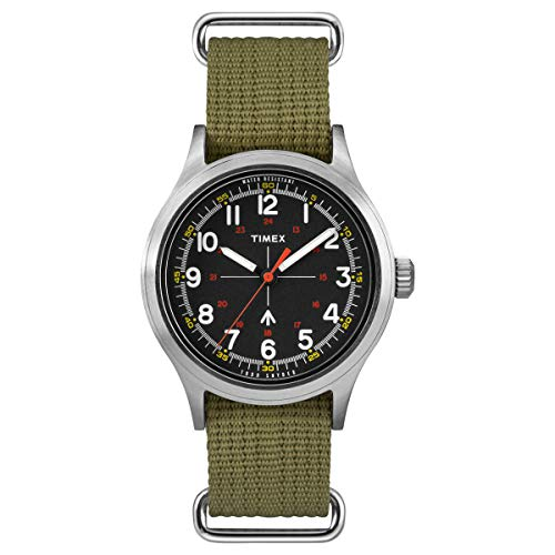 Timex Men's Military-Inspired 40mm Analog Quartz Canvas Strap, Green, 20 Casual Watch (Model: TW4B05800JR)
